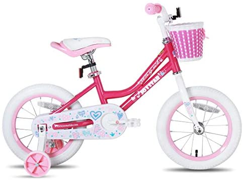 41FcYIF9N1L. AC  - JOYSTAR Angel Girls Bike 12 14 16 18 Inch Kids Bike with Training Wheels for 2-9 Years Old, 18 Inch Kids Bike with Kickstand, Toddler Bicycle, Blue, Fuchsia, Purple