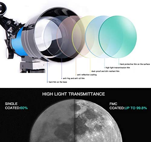 41MS04lscTL. AC  - FREE SOLDIER Telescope for Kids Astronomy Beginners - 70mm Aperture High Magnification Astronomical Refractor Telescope with Phone Adapter Wireless Remote Portable Telescope for Kids, Blue