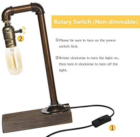 41MyCLqTWKL. AC  - HAITRAL Retro Vintage Table Lamp- Industrial Loft Style Steam Punk Lamp with Wood Base Iron Piping Desk Lamp for Bedside, Living Room, Kitchen, Café, Store, Pub, Dorm (Bulb Not Included)