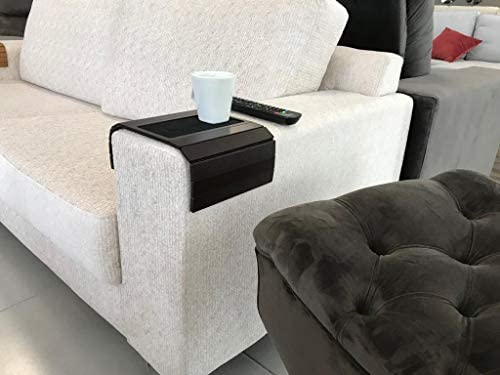 41RCzz9ea6L. AC  - Sofa Couch Arm Tray Table with EVA Base. Weighted Sides. Fits Over Square Chair arms.