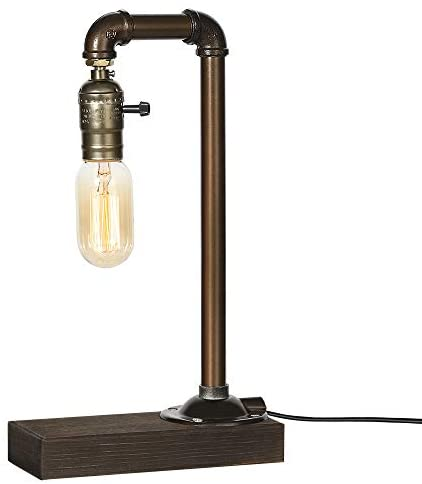 41SkHCjATWL. AC  - HAITRAL Retro Vintage Table Lamp- Industrial Loft Style Steam Punk Lamp with Wood Base Iron Piping Desk Lamp for Bedside, Living Room, Kitchen, Café, Store, Pub, Dorm (Bulb Not Included)