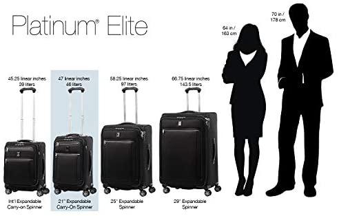 41VihXeRriL. AC  - Travelpro Platinum Elite-Softside Expandable Spinner Wheel Luggage, True Navy, Carry-On 21-Inch