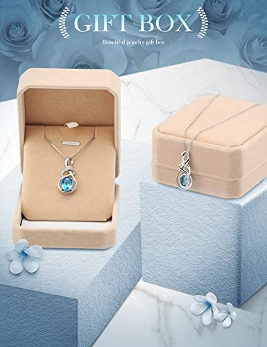 41XkrKXQq1L. AC  - HXZZ Fine Jewelry Natural Gemstone Gifts for Women Sterling Silver Swiss Blue Topaz Amethyst Citrine Pendant Necklace