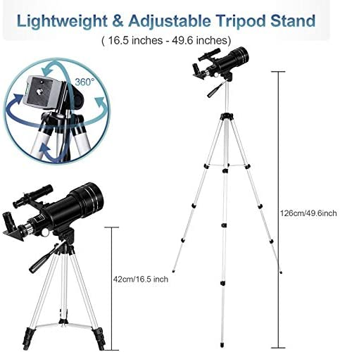 41abLSLtV+L. AC  - Occer Telescopes for Adults Kids - Portable Telescope for Beginners for View Moon - 70mm Aperture 300mm Lightweight Refracting Telescopes with Adjustable Tripod Moon Filter Wireless Remote
