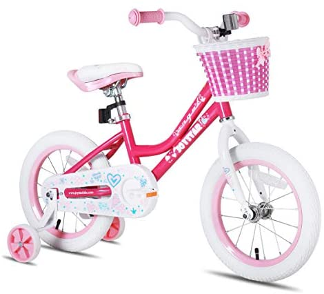 41hA OkGWYL. AC  - JOYSTAR Angel Girls Bike 12 14 16 18 Inch Kids Bike with Training Wheels for 2-9 Years Old, 18 Inch Kids Bike with Kickstand, Toddler Bicycle, Blue, Fuchsia, Purple