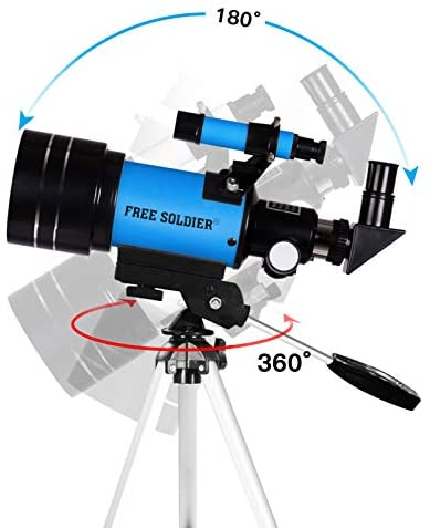 41hbwpZ22YL. AC  - FREE SOLDIER Telescope for Kids Astronomy Beginners - 70mm Aperture High Magnification Astronomical Refractor Telescope with Phone Adapter Wireless Remote Portable Telescope for Kids, Blue
