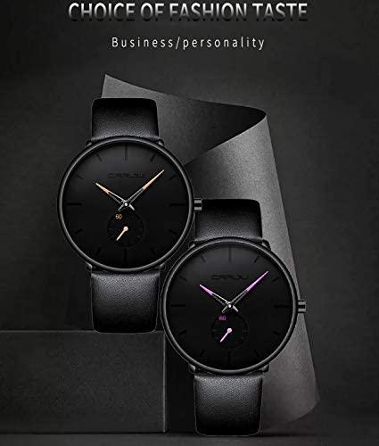 41nPako58hL. AC  - Mens Watches Ultra-Thin Minimalist Waterproof-Fashion Wrist Watch for Men Unisex Dress with Leather Band