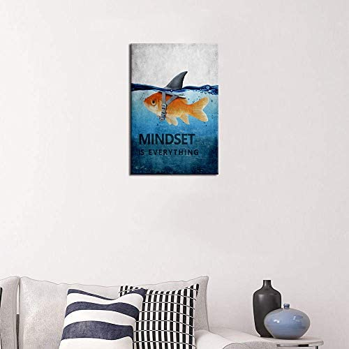 """41o5J9FxNHL. AC  - Mindset is Everything Motivational Canvas Wall Art Inspirational Entrepreneur Quotes Poster Print Artwork Painting Picture for Living Room Bedroom Office Home Decor Framed Ready to Hang (12""""Wx18""""H)"""