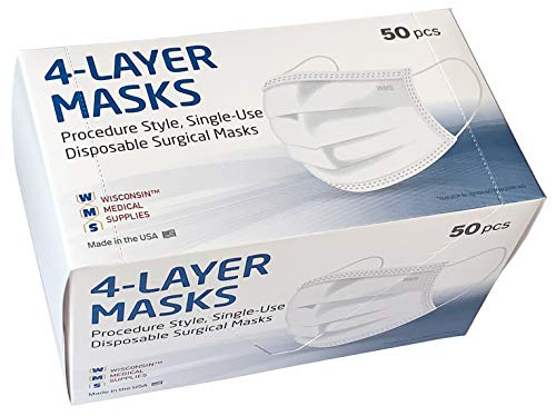 41oNBI+5BUL - WMS 4-Layer Face Masks, Wisconsin Medical Supplies, MADE IN USA, 1 Pack (50 PCs)