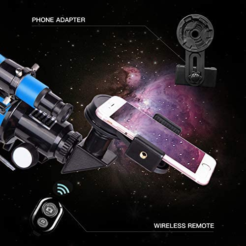 512nRcEFMNL. AC  - FREE SOLDIER Telescope for Kids Astronomy Beginners - 70mm Aperture High Magnification Astronomical Refractor Telescope with Phone Adapter Wireless Remote Portable Telescope for Kids, Blue