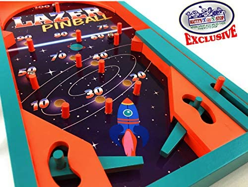 513QmmC8gqL. AC  - Matty's Toy Stop Deluxe Wood Tabletop Neon Lazer Space Pinball & Neon Lazer Space Fire Fast-Track Games Gift Set Bundle - 2 Pack
