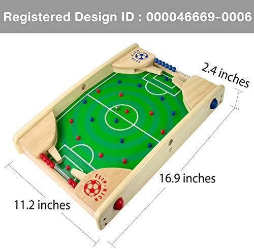 515CoSFuXWL. AC  - Flipkick: Wooden Tabletop Football/Soccer Pinball Games, Indoor Portable Sport Table Board for Kids and Family