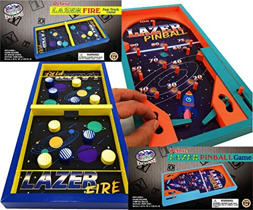 518dtVIH14L. AC  - Matty's Toy Stop Deluxe Wood Tabletop Neon Lazer Space Pinball & Neon Lazer Space Fire Fast-Track Games Gift Set Bundle - 2 Pack