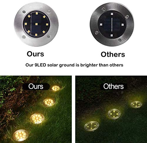 51ANYu5Y7nL. AC  - YUNLIGHTS 8PCS Solar Lights Outdoor, Solar Ground Lights with 9 LEDs, Disk Lights Garden Solar Lights Auto On/Off, IP65 Waterproof Yard Solar Lights for Lawn Pathway Yard Driveway Walkway Warm White