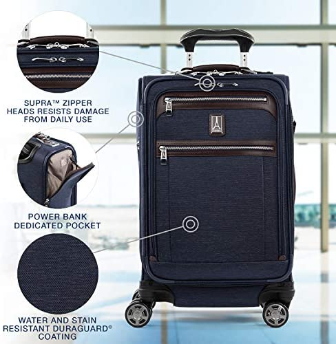 51DuaXze4RL. AC  - Travelpro Platinum Elite-Softside Expandable Spinner Wheel Luggage, True Navy, Carry-On 21-Inch