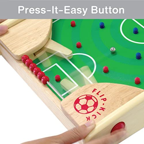 51FMAMrI1mL. AC  - Flipkick: Wooden Tabletop Football/Soccer Pinball Games, Indoor Portable Sport Table Board for Kids and Family