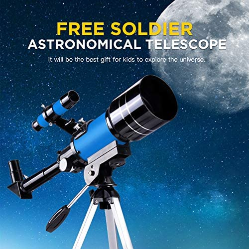 51I3sIOcLkL. AC  - FREE SOLDIER Telescope for Kids Astronomy Beginners - 70mm Aperture High Magnification Astronomical Refractor Telescope with Phone Adapter Wireless Remote Portable Telescope for Kids, Blue