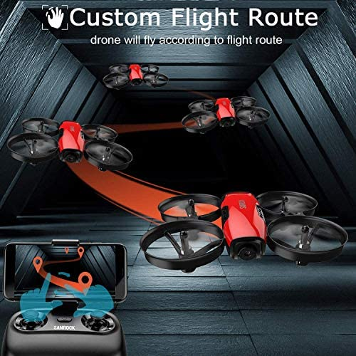 51KvxJ2zPeL. AC  - SANROCK U61W Drones for Kids with Camera, Mini RC Drone Quadcopter with 720P HD WiFi FPV Camera, Support Altitude Hold, Route Making, Headless Mode, One-Key Start, Emergency Stop, Great Gift for Boys Girls