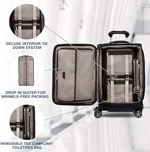 51MjCeonZ8L. AC  - Travelpro Platinum Elite-Softside Expandable Spinner Wheel Luggage, True Navy, Carry-On 21-Inch