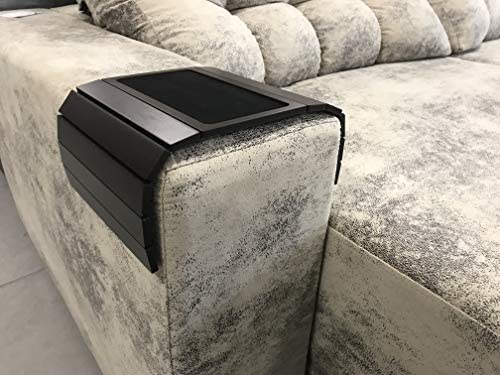 51PqWsmGhAL. AC  - Sofa Couch Arm Tray Table with EVA Base. Weighted Sides. Fits Over Square Chair arms.