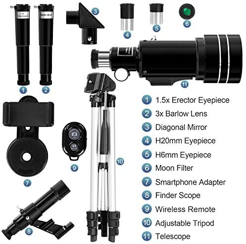51Q8T46j+JL. AC  - Occer Telescopes for Adults Kids - Portable Telescope for Beginners for View Moon - 70mm Aperture 300mm Lightweight Refracting Telescopes with Adjustable Tripod Moon Filter Wireless Remote