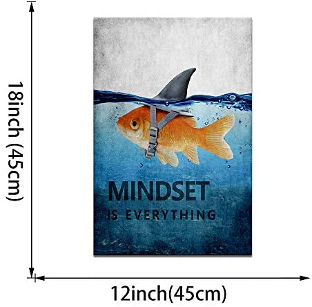 """51RLSgzX7HL. AC  - Mindset is Everything Motivational Canvas Wall Art Inspirational Entrepreneur Quotes Poster Print Artwork Painting Picture for Living Room Bedroom Office Home Decor Framed Ready to Hang (12""""Wx18""""H)"""
