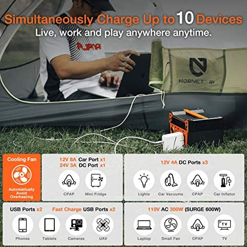 51RusnEbRrL. AC  - AIMTOM 300-Watt Portable Power Station - 280Wh Battery Powered Generator Alternative with 12V, 24V, AC and USB Outputs - Solar Rechargeable Lithium Backup Power - for Camping Outdoors RV Emergency
