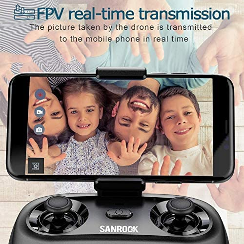 51WDCAZOFWL. AC  - SANROCK U61W Drones for Kids with Camera, Mini RC Drone Quadcopter with 720P HD WiFi FPV Camera, Support Altitude Hold, Route Making, Headless Mode, One-Key Start, Emergency Stop, Great Gift for Boys Girls