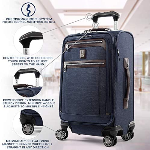 51WZzxVrW0L. AC  - Travelpro Platinum Elite-Softside Expandable Spinner Wheel Luggage, True Navy, Carry-On 21-Inch