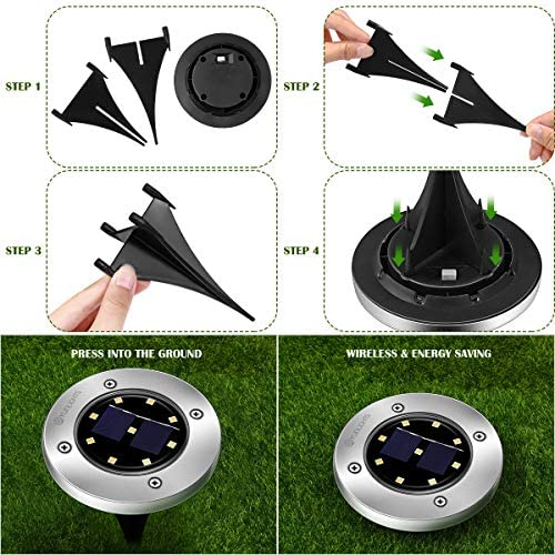 51WkBF9tMuL. AC  - YUNLIGHTS 8PCS Solar Lights Outdoor, Solar Ground Lights with 9 LEDs, Disk Lights Garden Solar Lights Auto On/Off, IP65 Waterproof Yard Solar Lights for Lawn Pathway Yard Driveway Walkway Warm White