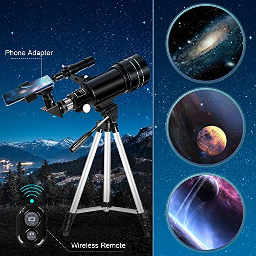 51Z6WmcthcL. AC  - Occer Telescopes for Adults Kids - Portable Telescope for Beginners for View Moon - 70mm Aperture 300mm Lightweight Refracting Telescopes with Adjustable Tripod Moon Filter Wireless Remote