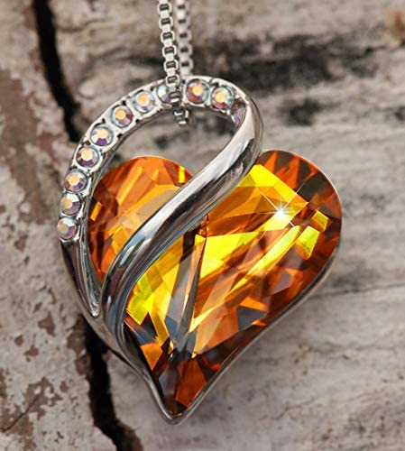 """51Z7o5VpYBL. AC  - Leafael Infinity Love Heart Pendant Necklace Birthstone Crystal Jewelry Gifts for Women, Silver-tone, 18""""+2"""""""