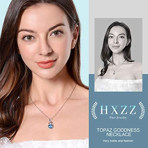 51bM7JBryiL. AC  - HXZZ Fine Jewelry Natural Gemstone Gifts for Women Sterling Silver Swiss Blue Topaz Amethyst Citrine Pendant Necklace