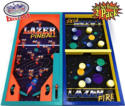 51bqI Q79nL. AC  - Matty's Toy Stop Deluxe Wood Tabletop Neon Lazer Space Pinball & Neon Lazer Space Fire Fast-Track Games Gift Set Bundle - 2 Pack