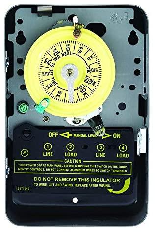 51c7OJIHFEL. AC  - Intermatic T104 Electromechanical Timer, 208-277 V, 40 A, 1-23 Hr, 1-12 Cycles Per Day, Gray