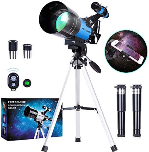 51d8Z3daBWL. AC  - FREE SOLDIER Telescope for Kids Astronomy Beginners - 70mm Aperture High Magnification Astronomical Refractor Telescope with Phone Adapter Wireless Remote Portable Telescope for Kids, Blue