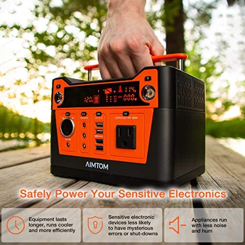 51dDfL6l RL. AC  - AIMTOM 300-Watt Portable Power Station - 280Wh Battery Powered Generator Alternative with 12V, 24V, AC and USB Outputs - Solar Rechargeable Lithium Backup Power - for Camping Outdoors RV Emergency