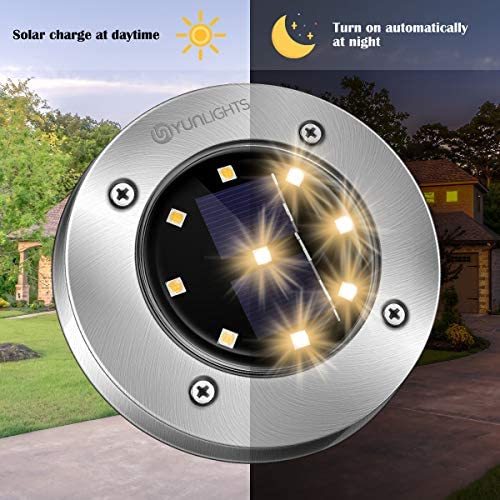 51ftlXBv bL. AC  - YUNLIGHTS 8PCS Solar Lights Outdoor, Solar Ground Lights with 9 LEDs, Disk Lights Garden Solar Lights Auto On/Off, IP65 Waterproof Yard Solar Lights for Lawn Pathway Yard Driveway Walkway Warm White