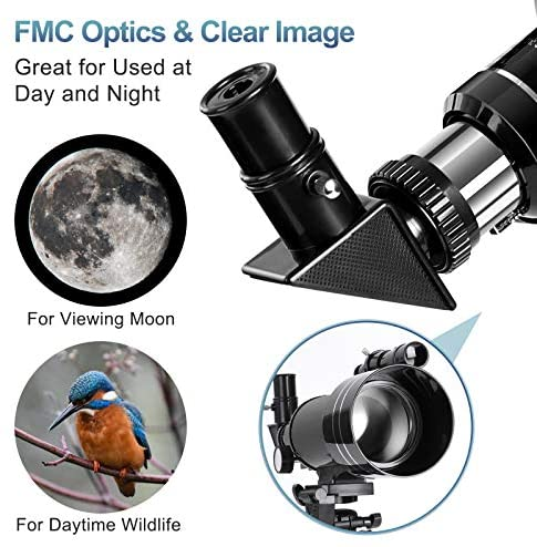 51fw9Y2MTOL. AC  - Occer Telescopes for Adults Kids - Portable Telescope for Beginners for View Moon - 70mm Aperture 300mm Lightweight Refracting Telescopes with Adjustable Tripod Moon Filter Wireless Remote
