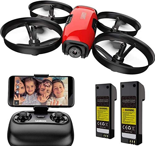 51hRWn7sfxL. AC  - SANROCK U61W Drones for Kids with Camera, Mini RC Drone Quadcopter with 720P HD WiFi FPV Camera, Support Altitude Hold, Route Making, Headless Mode, One-Key Start, Emergency Stop, Great Gift for Boys Girls