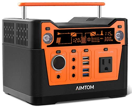 51iPGN7RwZL. AC  - AIMTOM 300-Watt Portable Power Station - 280Wh Battery Powered Generator Alternative with 12V, 24V, AC and USB Outputs - Solar Rechargeable Lithium Backup Power - for Camping Outdoors RV Emergency