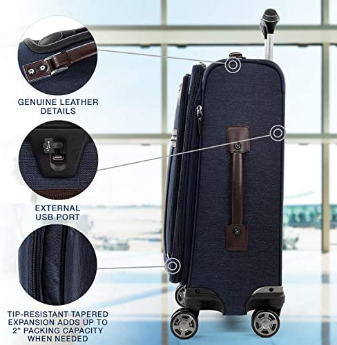 51k9L2hyzZL. AC  - Travelpro Platinum Elite-Softside Expandable Spinner Wheel Luggage, True Navy, Carry-On 21-Inch