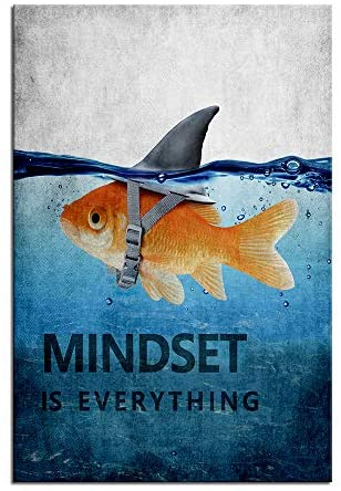 """51kyvx4uS0L. AC  - Mindset is Everything Motivational Canvas Wall Art Inspirational Entrepreneur Quotes Poster Print Artwork Painting Picture for Living Room Bedroom Office Home Decor Framed Ready to Hang (12""""Wx18""""H)"""