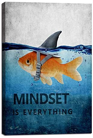 """51nONOHyWwL. AC  - Mindset is Everything Motivational Canvas Wall Art Inspirational Entrepreneur Quotes Poster Print Artwork Painting Picture for Living Room Bedroom Office Home Decor Framed Ready to Hang (12""""Wx18""""H)"""