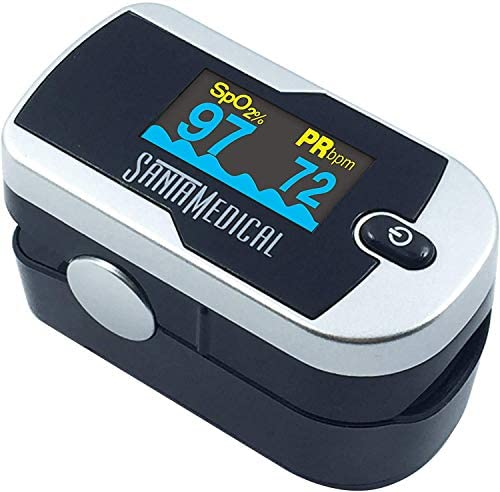 51pWBpHBh7L. AC  - Santamedical Generation 2 Fingertip Pulse Oximeter Oximetry Blood Oxygen Saturation Monitor with Batteries and Lanyard