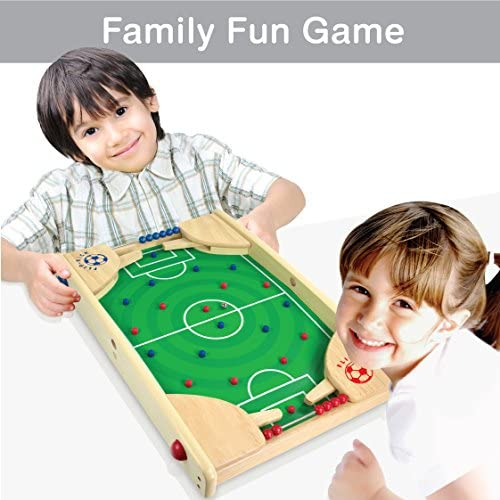 51snS8KmZSL. AC  - Flipkick: Wooden Tabletop Football/Soccer Pinball Games, Indoor Portable Sport Table Board for Kids and Family