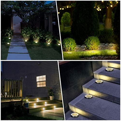 51tRiv6evTL. AC  - YUNLIGHTS 8PCS Solar Lights Outdoor, Solar Ground Lights with 9 LEDs, Disk Lights Garden Solar Lights Auto On/Off, IP65 Waterproof Yard Solar Lights for Lawn Pathway Yard Driveway Walkway Warm White