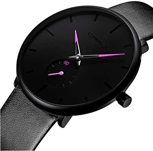 51u3uiB5crL. AC  - Mens Watches Ultra-Thin Minimalist Waterproof-Fashion Wrist Watch for Men Unisex Dress with Leather Band