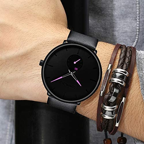 51vISywpZsL. AC  - Mens Watches Ultra-Thin Minimalist Waterproof-Fashion Wrist Watch for Men Unisex Dress with Leather Band