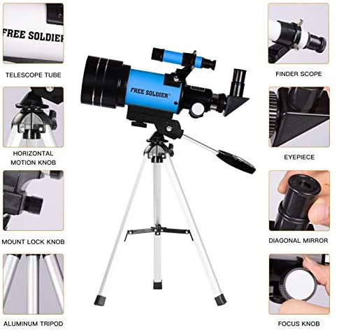 51w3eTdVOiL. AC  - FREE SOLDIER Telescope for Kids Astronomy Beginners - 70mm Aperture High Magnification Astronomical Refractor Telescope with Phone Adapter Wireless Remote Portable Telescope for Kids, Blue